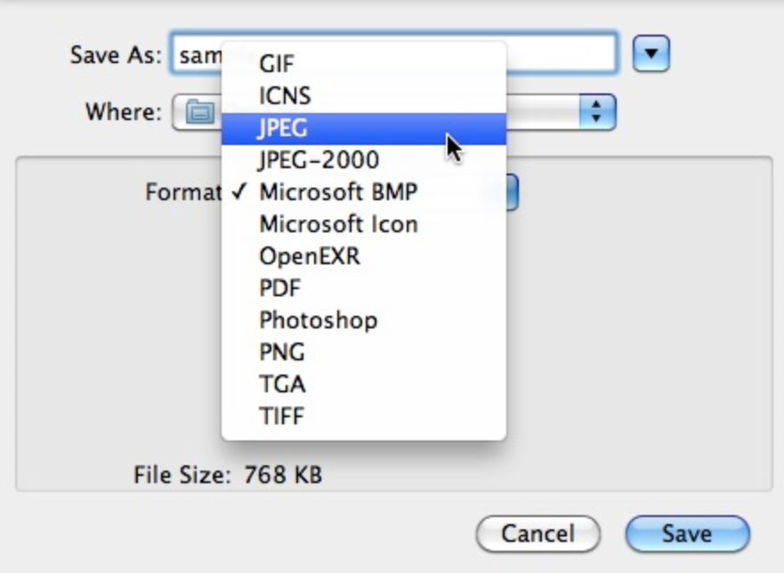 JPEG or TIFF screenshot on Mac