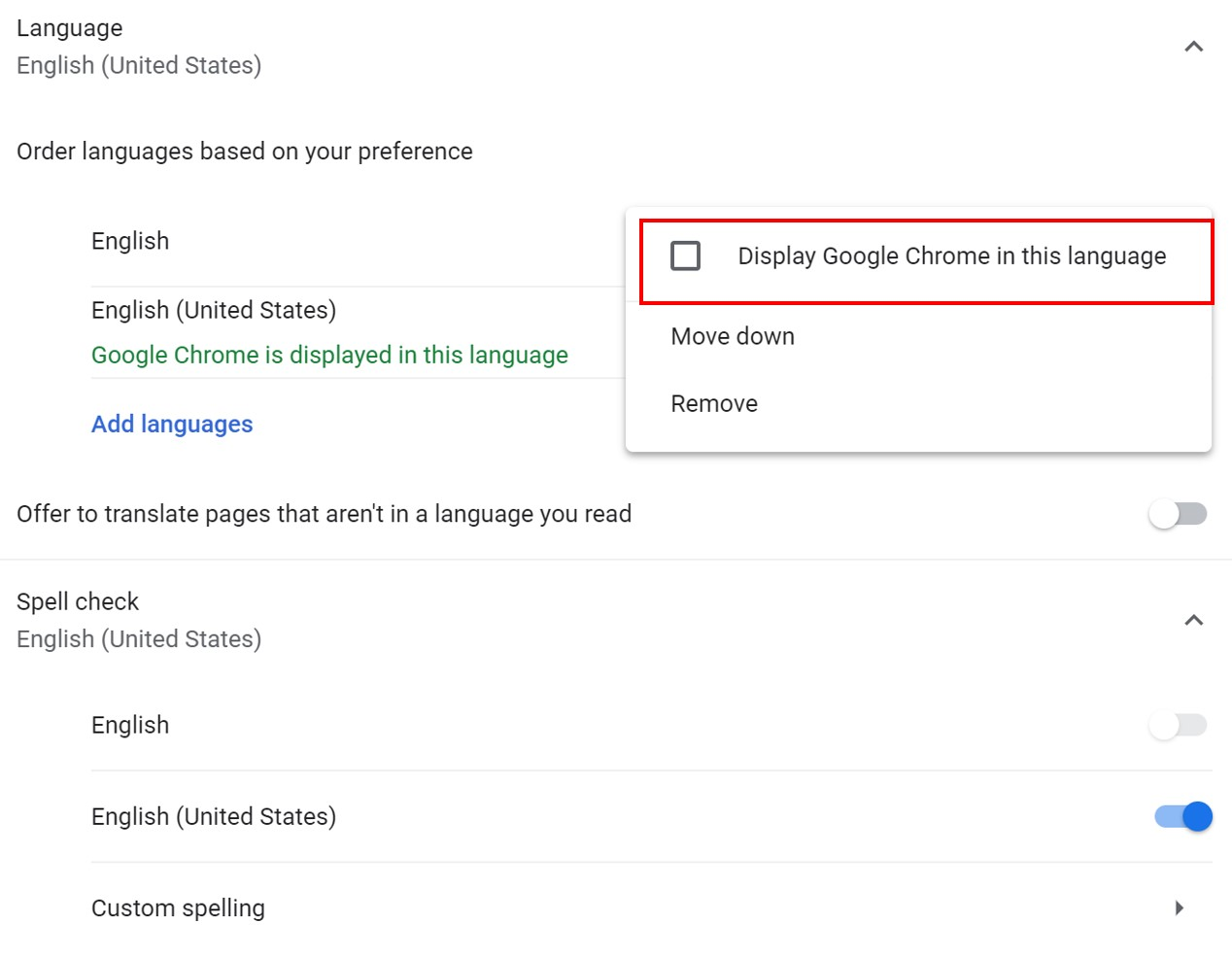 New Language Selection in Google Chrome