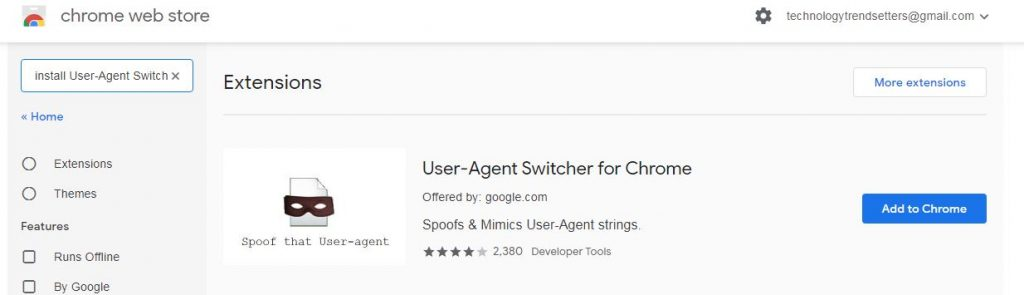 Image Result for User-Agent Switcher for Chrome