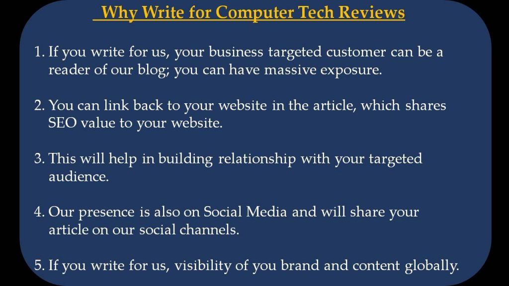 Artificial Intelligence Write For Us - Why Write for Computer Tech Reviews
