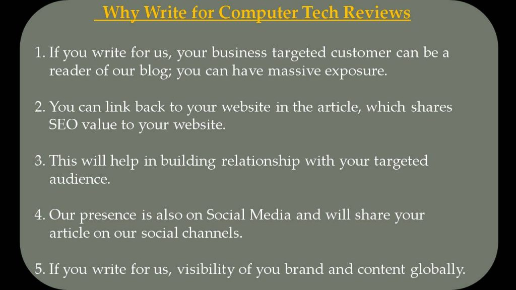 Cloud Computing Write For Us - Why Write for Computer Tech Reviews