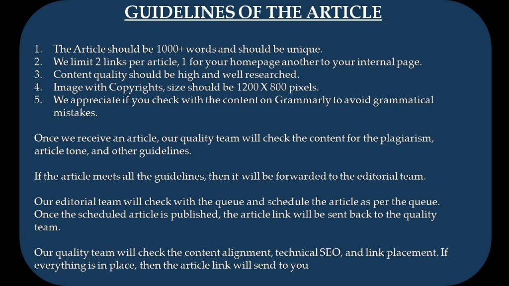 Guidelines of the Article