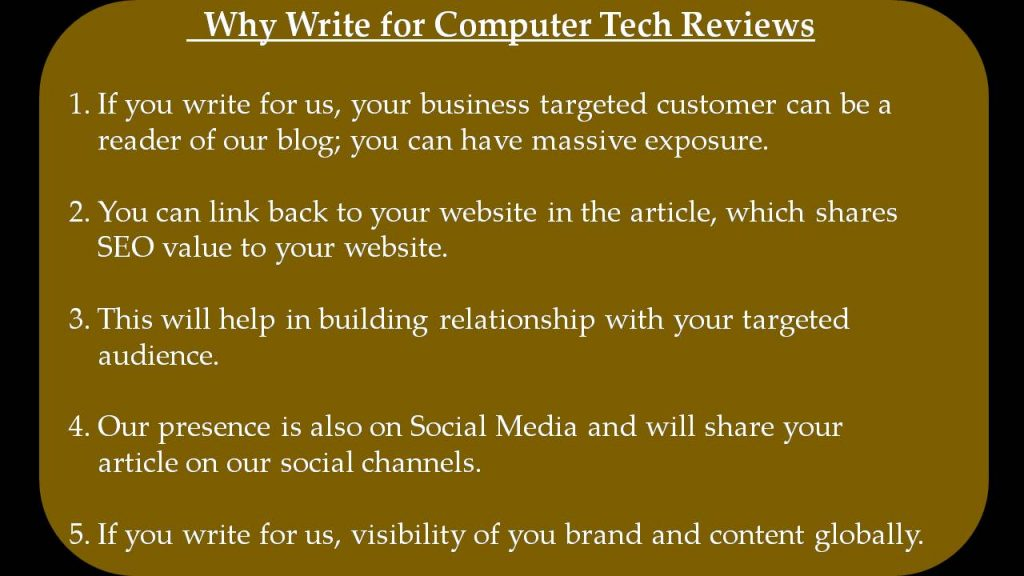 Machine Learning Write For Us - Why Write for Computer Tech Reviews