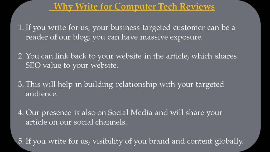 Software Write For Us - Why Write for Computer Tech Reviews