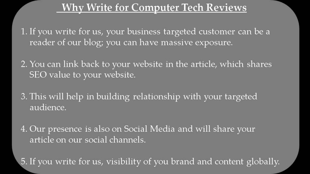 Technology Write for Us - Why Write for Computer Tech Reviews