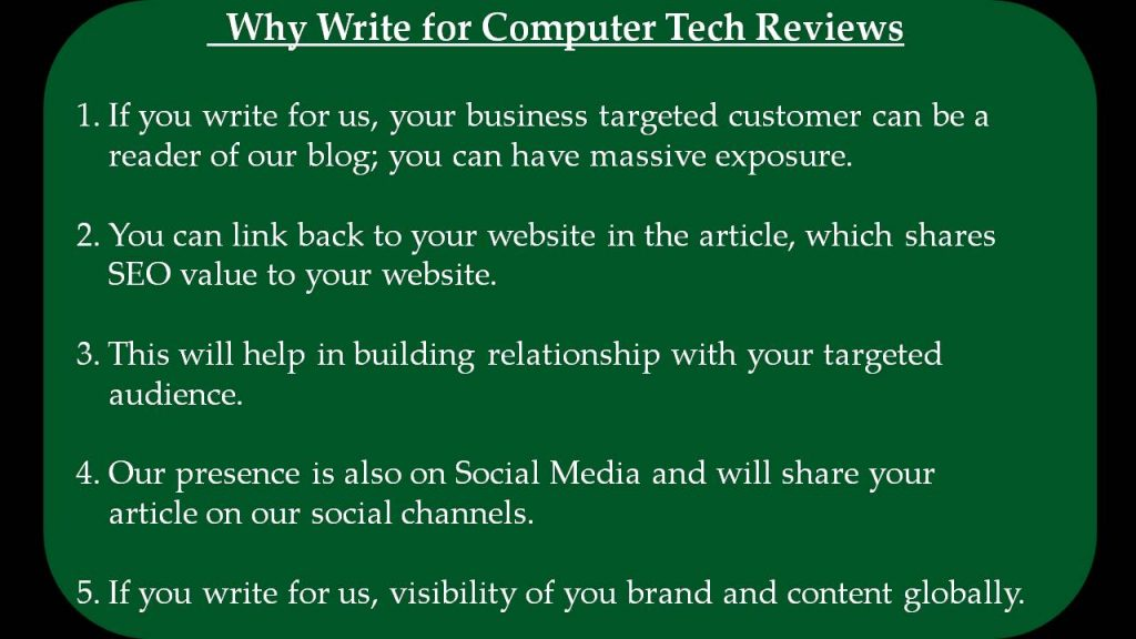 Why Write for Computer Tech Reviews