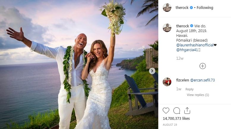 Dwayne Johnson The Rock with his Wife