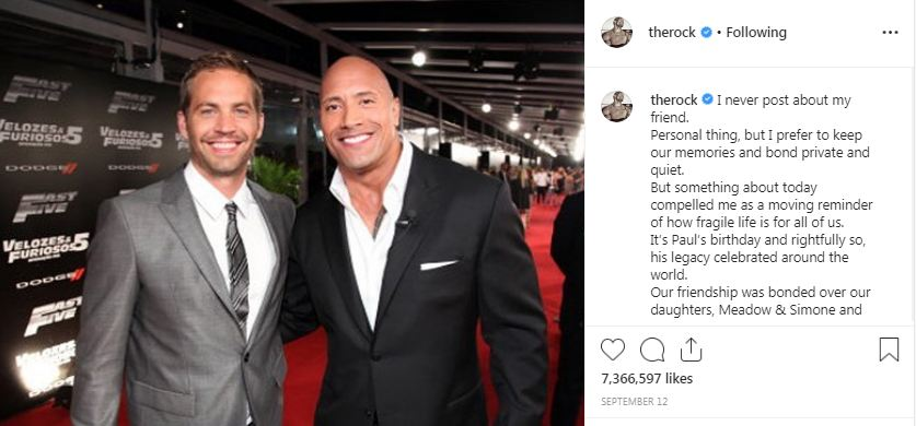 The Rock about Paul Walker together