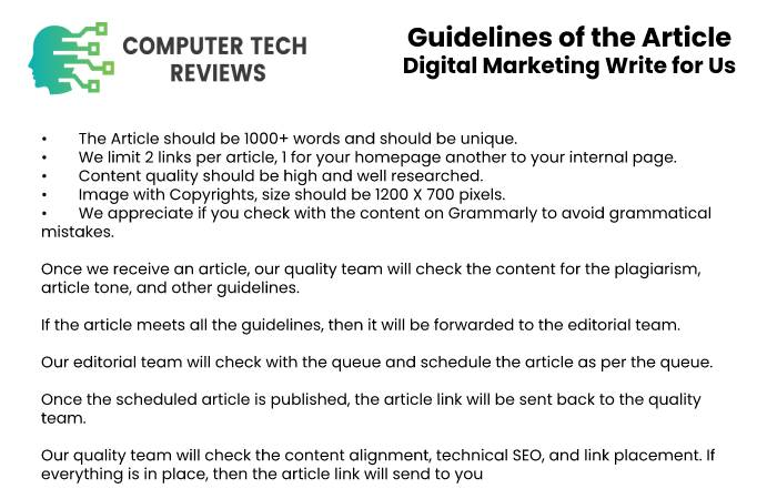 Guidelines of the Article - Digital Marketing Write for US