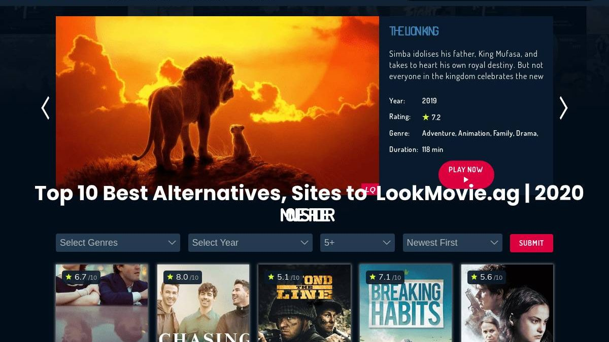 Top 10 Best Alternatives, Sites to  LookMovie.ag | 2020