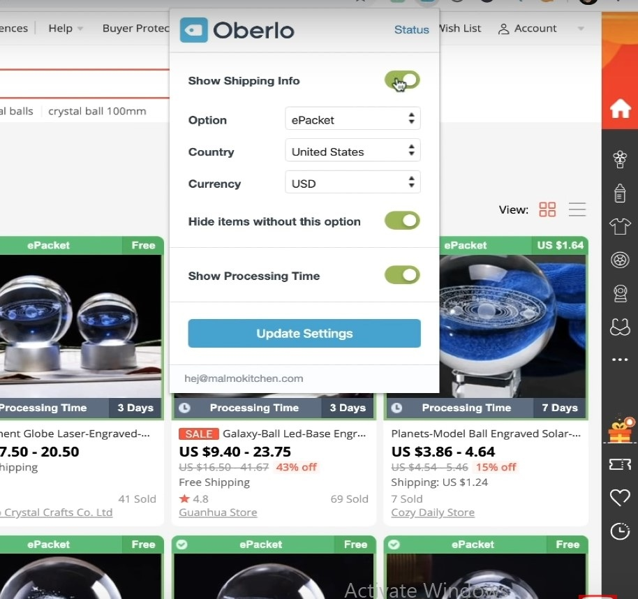 Oberlo Chrome extension