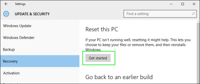 Using Factory Reset Step 7