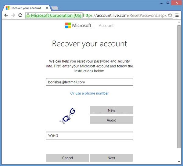 Using Microsoft Account Step 3