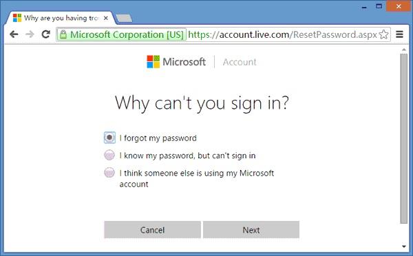 Using Microsoft Account Step 1
