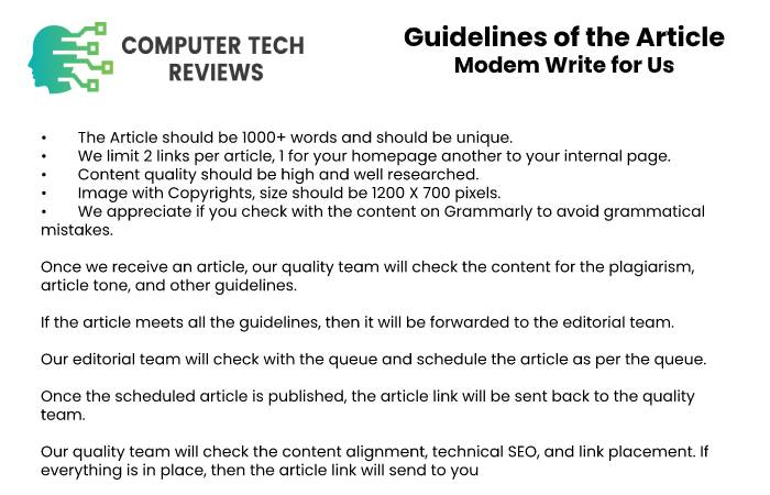 Guidelines of the Article – Modem Write for Us