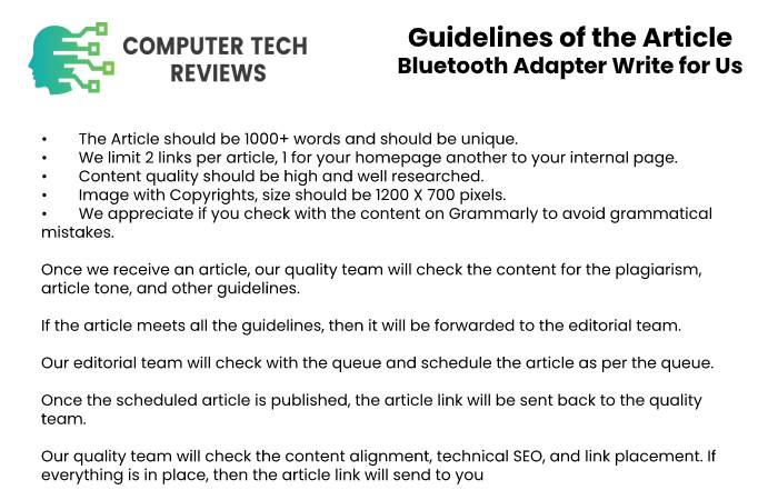 Guidelines of the Article – Bluetooth Adapter Write for Us