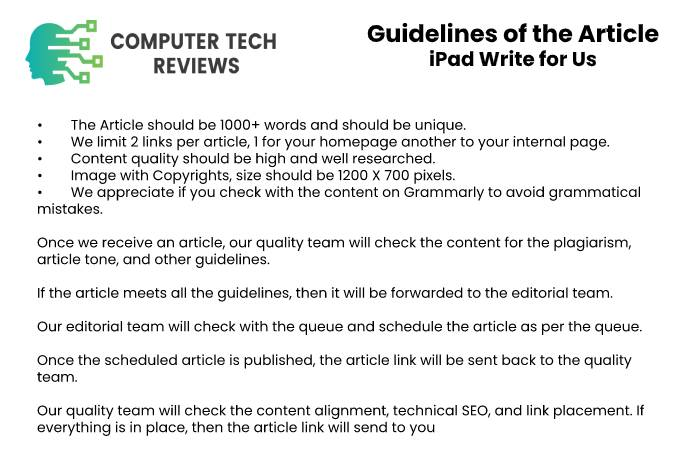 Guidelines of the Article – iPad Write for Us