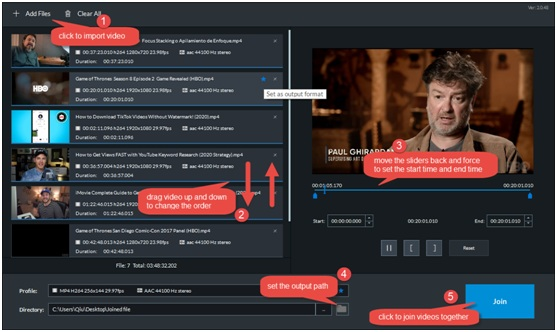 Combine multiple video/ audio clips into one
