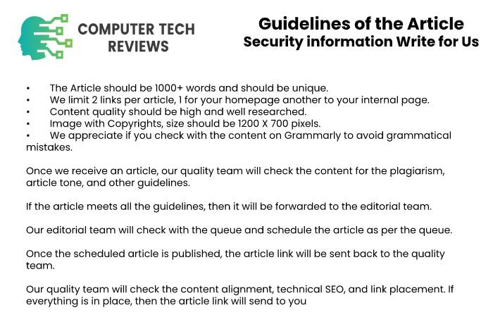 Guidelines of the Article – Security information Write for Us