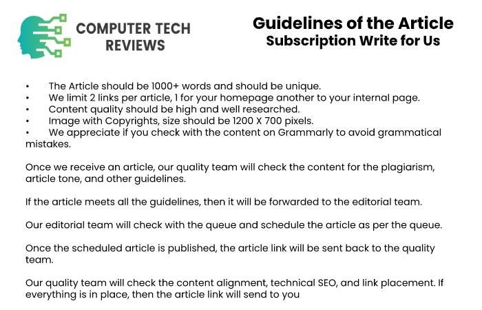 Guidelines of the Article – Subscription Write for Us