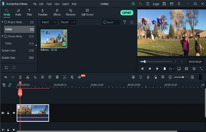 filmora interface